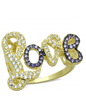 Ring Brass Gold+Ruthenium AAA Grade CZ Amethyst