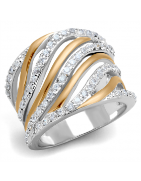 Ring Brass Rose Gold + Rhodium AAA Grade CZ Clear