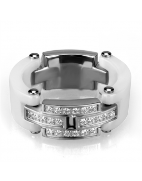 Ring Stainless Steel High polished (no plating) Ceramic White