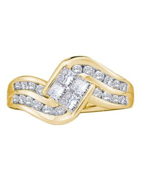 14kt Yellow Gold Womens Princess Diamond Contoured Cluster Ring 1.00 Cttw