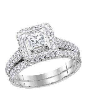 14kt White Gold Womens Princess Diamond Halo Bridal Wedding Engagement Ring Band Set 1-1/4 Cttw