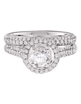 14kt Yellow Gold Womens Round Diamond Bridal Wedding Engagement Ring Band Set 1-1/4 Cttw