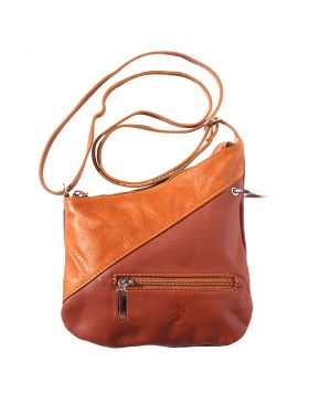 Licia leather crossbody bag - Brown/Tan