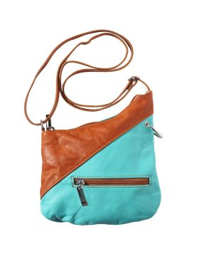 Licia leather crossbody bag - Turquoise/Tan