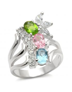 Ring 925 Sterling Silver High-Polished AAA Grade CZ Multi Color
