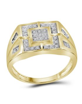 10kt Yellow Gold Unisex Round Diamond Square Cluster Ring 1/4 Cttw