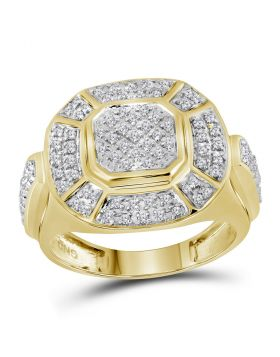 10kt Yellow Gold Unisex Round Diamond Circle Cluster Ring 1/2 Cttw