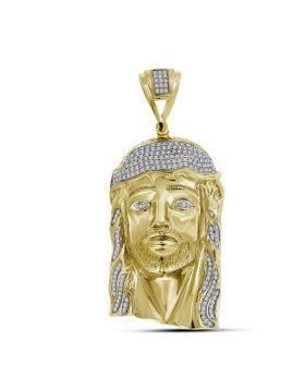 10kt Yellow Gold Unisex Round Diamond Jesus Christ Messiah Head Charm Pendant 7/8 Cttw