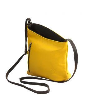 Miriam leather Crossbody bag - Yellow/Brown