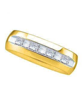 14kt Yellow Gold Unisex Princess Channel-set Diamond Wedding Anniversary Band Ring 1.00 Cttw