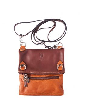 Brigit Shoulder bag in soft genuine leather - Brown/Tan
