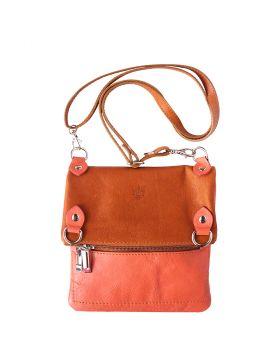 Brigit Shoulder bag in soft genuine leather - Pink/Tan
