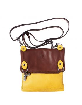 Brigit Shoulder bag in soft genuine leather - Yellow/Brown