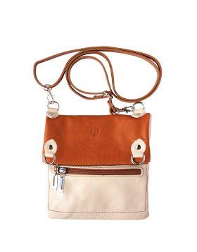 Brigit Shoulder bag in soft genuine leather - Beige/Tan