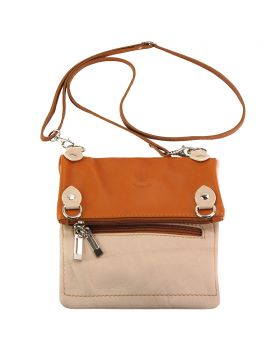 Brigit Shoulder bag in soft genuine leather - Light Taupe/Tan