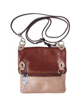 Brigit Shoulder bag in soft genuine leather - Light Taupe/Brown