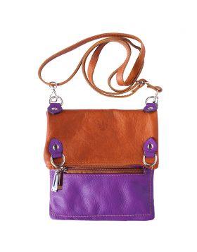 Brigit Shoulder bag in soft genuine leather - Purple/Tan