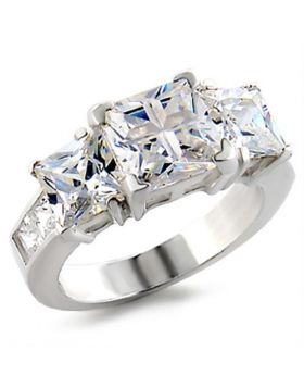 Ring 925 Sterling Silver High-Polished AAA Grade CZ Clear
