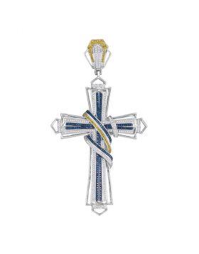 10kt White Gold Unisex Round Blue & Yellow Color Enhanced Diamond Bound Flared Cross Charm Pendant 1-5/8 Cttw