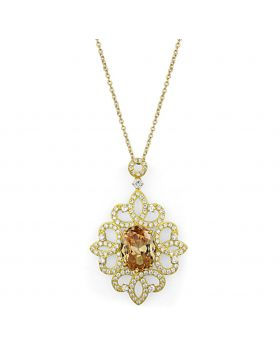 LOS784-18+2 - 925 Sterling Silver Gold Chain Pendant AAA Grade CZ Champagne