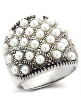 Ring 925 Sterling Silver Antique Tone Synthetic White Pearl