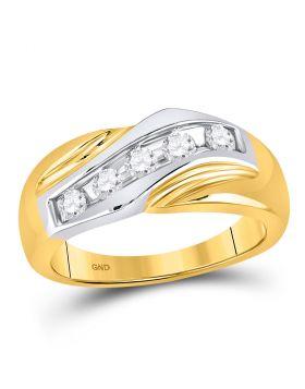 14kt Two-tone Gold Unisex Round Diamond Wedding Band Ring 1/2 Cttw
