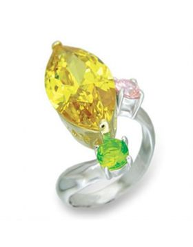 Ring 925 Sterling Silver Reverse Two-Tone AAA Grade CZ Citrine
