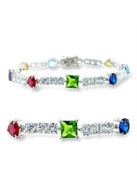 Bracelet 925 Sterling Silver High-Polished AAA Grade CZ Multi Color