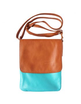 Vala Cross body leather bag - Turquoise/Tan