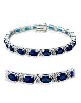 Bracelet Brass Rhodium Synthetic Sapphire Spinel