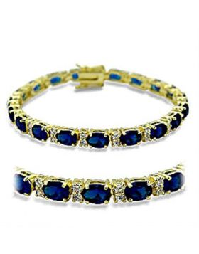 Bracelet Brass Gold Synthetic Sapphire Spinel