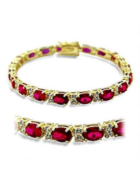 Bracelet Brass Gold Synthetic Ruby Garnet