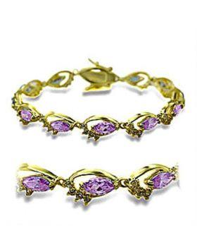 Bracelet Brass Gold AAA Grade CZ Light Amethyst