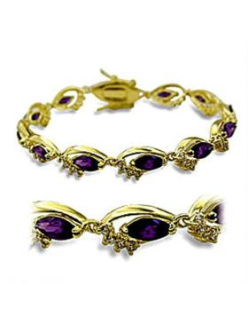 Bracelet Brass Gold AAA Grade CZ Amethyst