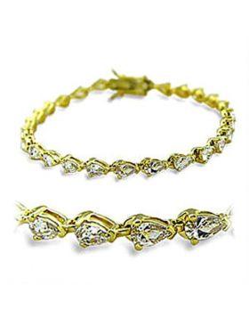 Bracelet Brass Gold AAA Grade CZ Clear Pear