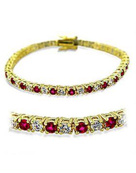 Bracelet Brass Gold Synthetic Ruby Garnet Round