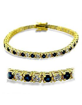 Bracelet Brass Gold Synthetic Sapphire Spinel Round