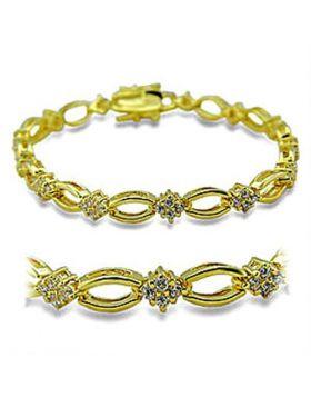 Bracelet Brass Gold AAA Grade CZ Clear Round