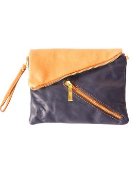 Alexa Leather Clutch - Blue/Tan