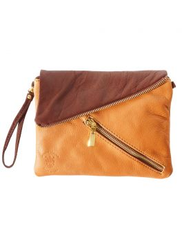 Alexa Leather Clutch - Tan/Brown