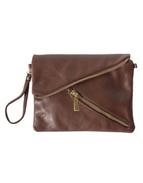 Alexa Leather Clutch - Dark Brown