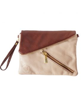 Alexa Leather Clutch - Light Taupe/Brown