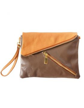 Alexa Leather Clutch - Taupe/Beige