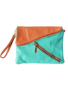 Alexa Leather Clutch - Turquoise/Tan