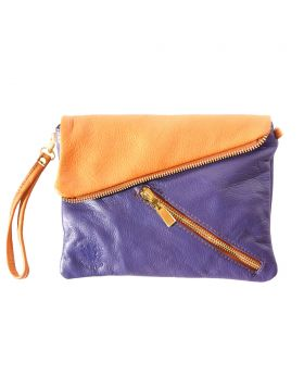 Alexa Leather Clutch - Purple/Tan
