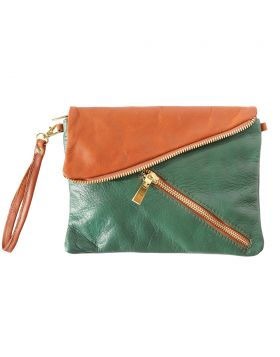 Alexa Leather Clutch - Green/Tan