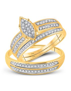10kt Yellow Gold His & Hers Round Diamond Cluster Matching Bridal Wedding Ring Band Set 1/4 Cttw