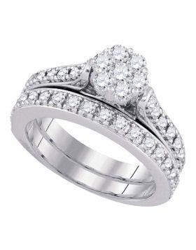 14kt White Gold Womens Round Diamond Bridal Wedding Engagement Ring Band Set 1.00 Cttw
