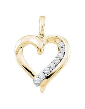 14kt Yellow Gold Womens Round Diamond Heart Pendant 1/4 Cttw