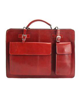 Daniele mini leather briefcase - Red
